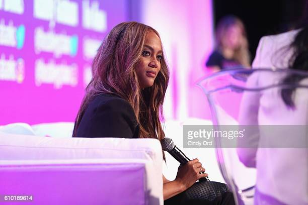 Tyra Banks speak onstage during Cosmopolitan Fun Fearless Money 2016 on September 24 2016 at Cedar Lake in New York City