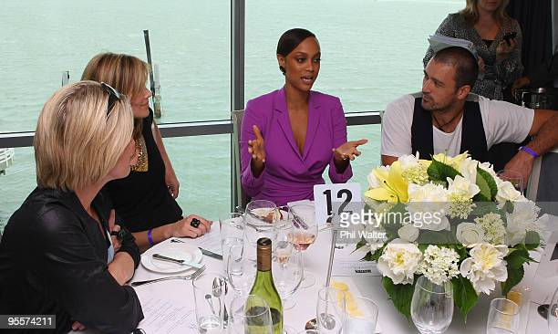 Tyra Banks speaks to guests during the Tyra Banks Global BIO Summit at The Wharf on December 16 2009 in Auckland New Zealand