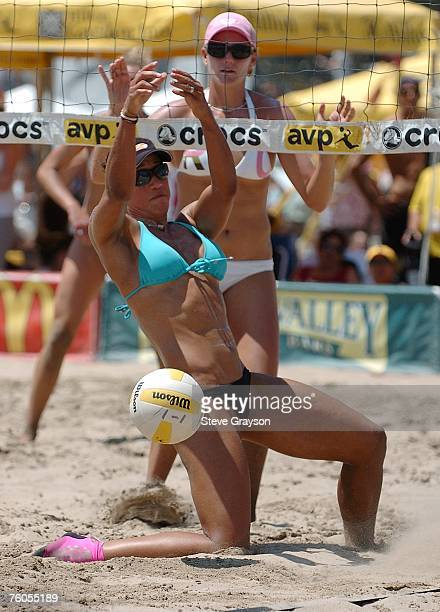 Tyra Turner is seen in action during the Women's Main Draw at the Manhattan Beach Pier during the AVP Tour on August 10 2007 in Manhattan Beach...