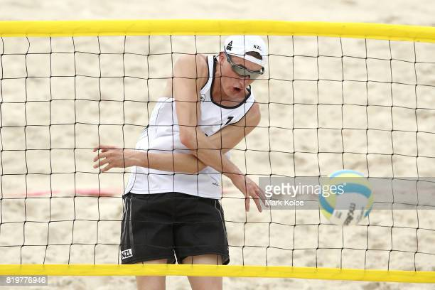 Tyran Gillespie of New Zealand warms up during the Boys Beach Volleyball on day 3 of the 2017 Youth Commonwealth Games at Queen Elizabeth Sports...