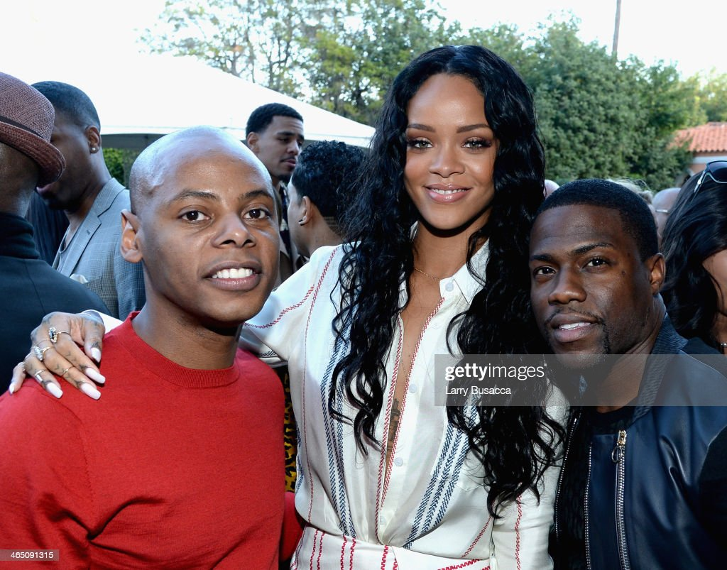 Tyran 'Tata' Smith, recording artist Rihanna and actor Kevin Hart attend the Roc Nation Pre-GRAMMY Brunch Presented by MAC Viva Glam at Private Residence on January 25, 2014 in Beverly Hills, California.