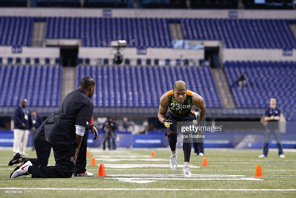Tyrann Mathieu of Louisiana State University works out during the 2013 NFL Combine at Lucas Oil Stadium on February 26, 2013 in Indianapolis, Indiana.