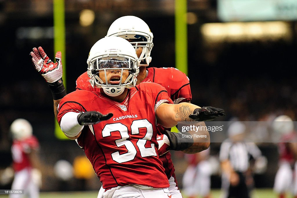 <a gi-track='captionPersonalityLinkClicked' href=/galleries/search?phrase=Tyrann+Mathieu&family=editorial&specificpeople=7173040 ng-click='$event.stopPropagation()'>Tyrann Mathieu</a> #32 of the Arizona Cardinals celebrates an interception against the New Orleans Saints during a game at the Mercedes-Benz Superdome on September 22, 2013 in New Orleans, Louisiana. The Saints defeated the Cardinals 31-7.