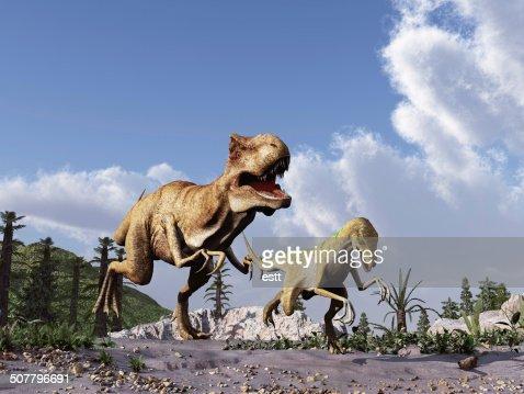 Tyrannosaurus rex chasing a velociraptor : Stock Photo