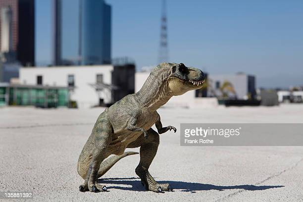 tyrannosaurus rex made from rubber stand in city