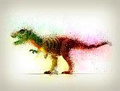 tyrannosaurus-rex shattering on canvas background