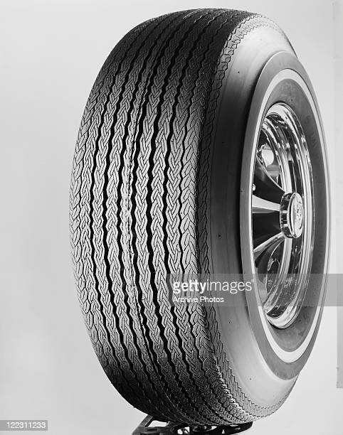 Tyre against white background, close-up