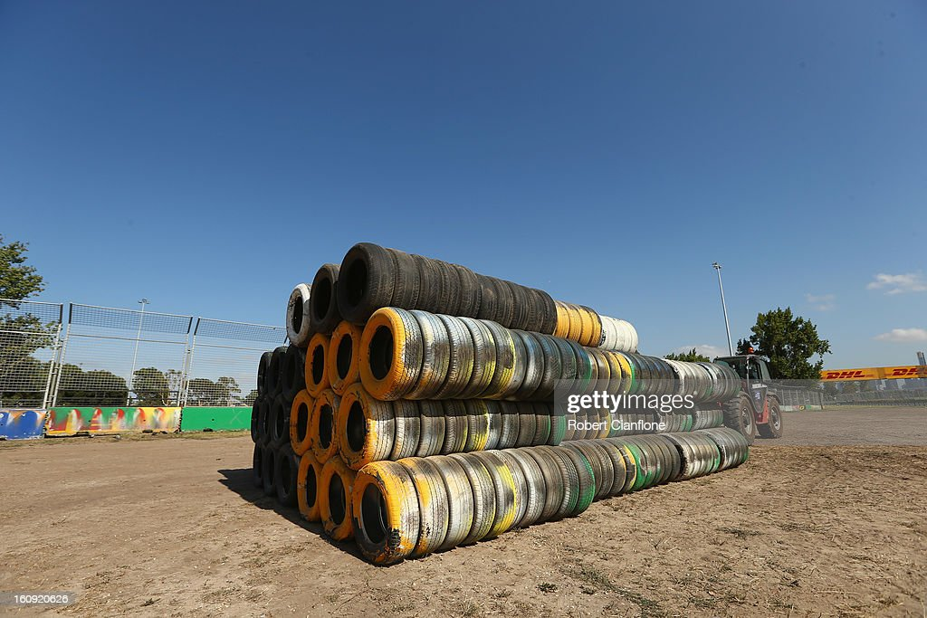 Tyre bundles are seen as the circuit is prepared for the Australian Formula One grand Prix at Albert Park, on February 8, 2013 in Melbourne, Australia.