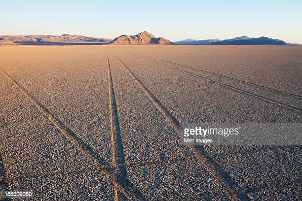 Reifen Spuren und Titel in die playa salt-pan-Oberfläche