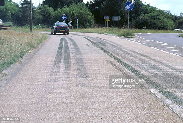 Tyre skid marks on road surface 2000