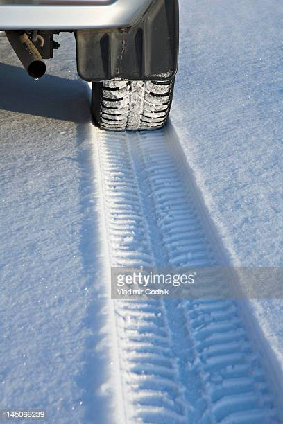 Tyre track on snow