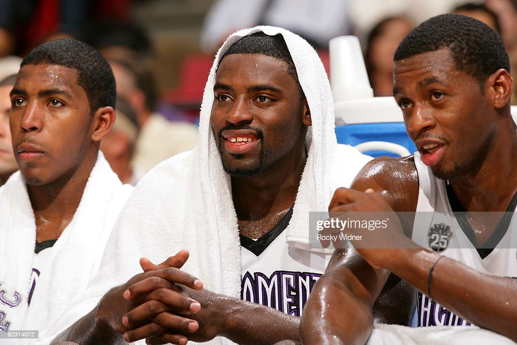 Tyreke Evans and Desmond Mason of the Sacramento Kings watch as their teammates take on the Utah Jazz during a preseason game on October 23 2009 at...