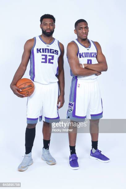 Tyreke Evans and Langston Galloway of the Sacramento Kings pose for a photo on February 24 2017 at the Golden 1 Center in Sacramento California NOTE...