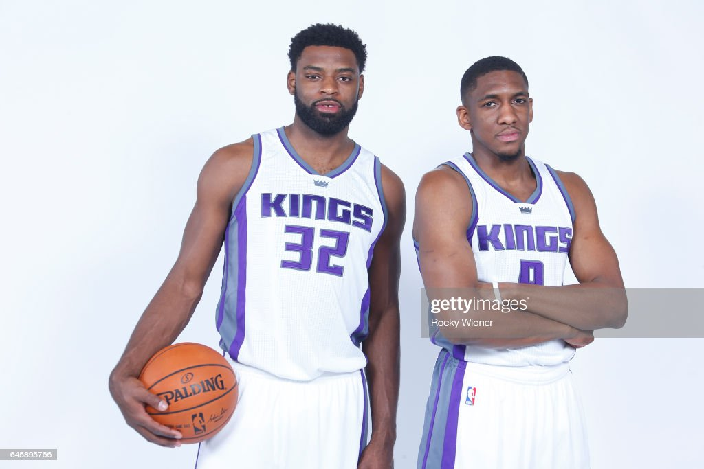 Tyreke Evans #32 and Langston Galloway #9 of the Sacramento Kings pose for a photo on February 24, 2017 at the Golden 1 Center in Sacramento, California.