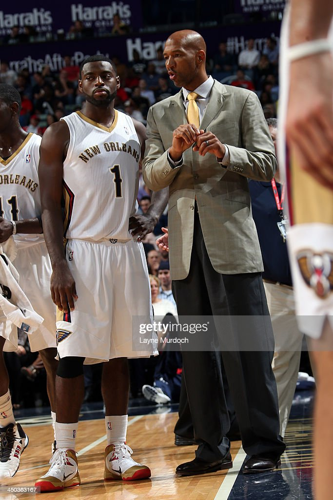 <a gi-track='captionPersonalityLinkClicked' href=/galleries/search?phrase=Tyreke+Evans&family=editorial&specificpeople=4851025 ng-click='$event.stopPropagation()'>Tyreke Evans</a> #1 and <a gi-track='captionPersonalityLinkClicked' href=/galleries/search?phrase=Monty+Williams&family=editorial&specificpeople=220489 ng-click='$event.stopPropagation()'>Monty Williams</a> of the New Orleans Pelicans talk during the game on against the Philadelphia 76ers on November 16, 2013 at the New Orleans Arena in New Orleans, Louisiana.