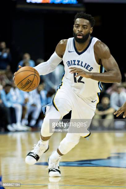Tyreke Evans of the Memphis Grizzlies dribbles down the court during a game against the Dallas Mavericks at the FedEx Forum on October 26 2017 in...