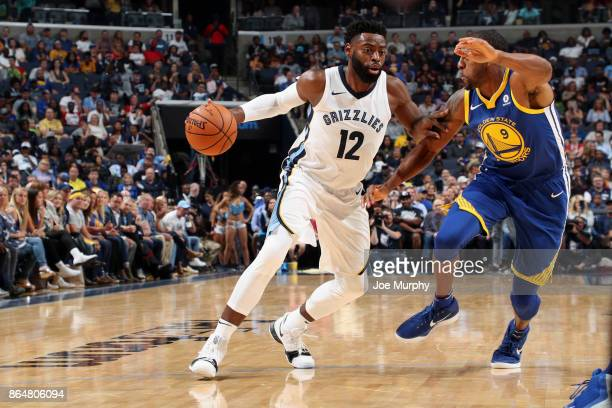 Tyreke Evans of the Memphis Grizzlies handles the ball against the Golden State Warriors on October 21 2017 at FedExForum in Memphis Tennessee NOTE...