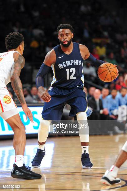 Tyreke Evans of the Memphis Grizzlies handles the ball during the 201718 NBA preseason game against the Atlanta Hawks on October 9 2017 at McCamish...