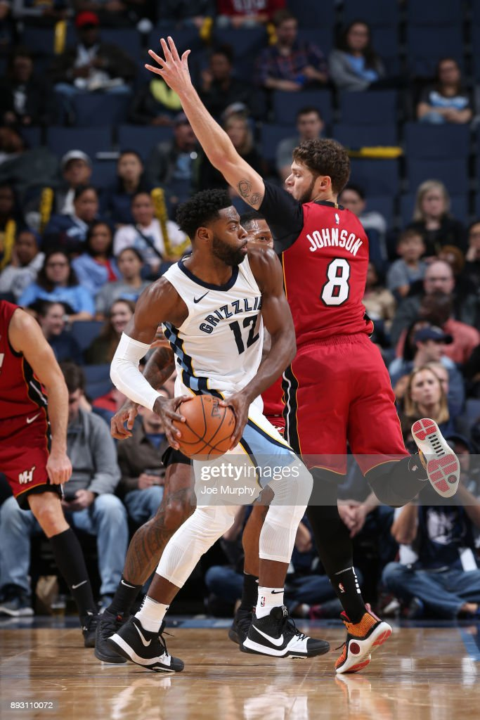 Tyreke Evans #12 of the Memphis Grizzlies looks to pass against the Miami Heat on December 11, 2017 at FedExForum in Memphis, Tennessee.
