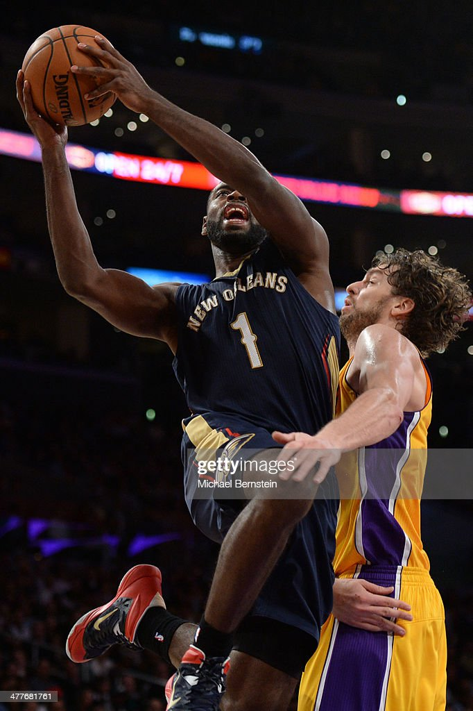 Tyreke Evans #1 of the New Orleans Pelicans attempts a shot against the Los Angeles Lakers at Staples Center on November 12, 2013 in Los Angeles, California.