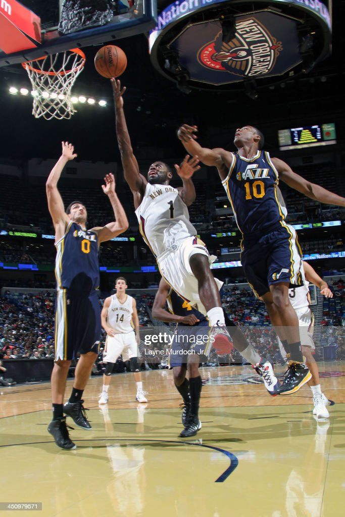 <a gi-track='captionPersonalityLinkClicked' href=/galleries/search?phrase=Tyreke+Evans&family=editorial&specificpeople=4851025 ng-click='$event.stopPropagation()'>Tyreke Evans</a> #1 of the New Orleans Pelicans drives to the basket against the Utah Jazz on November 20, 2013 at the New Orleans Arena in New Orleans, Louisiana.