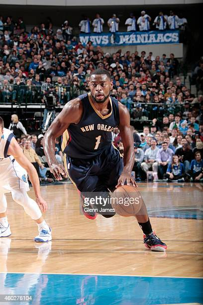 Tyreke Evans of the New Orleans Pelicans drives to the basket against the Dallas Mavericks during the game on December 10 2014 at the American...