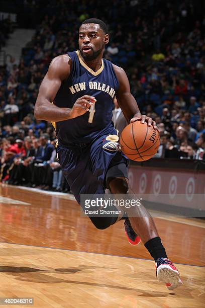 Tyreke Evans of the New Orleans Pelicans drives to the basket against the Minnesota Timberwolves on January 23 2015 at Target Center in Minneapolis...