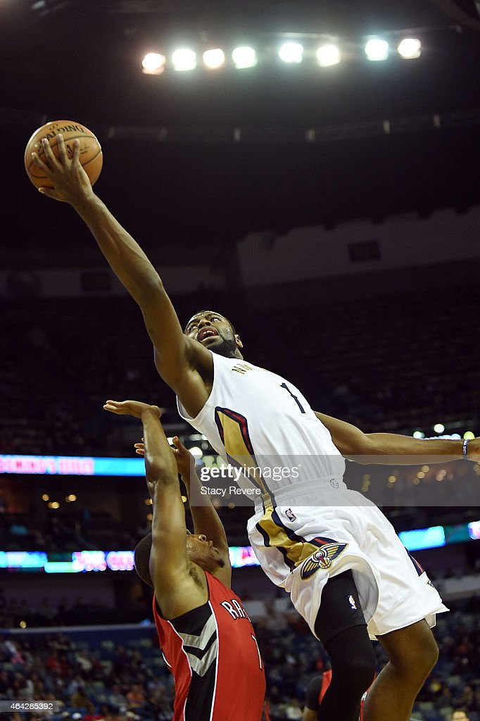 Tyreke Evans of the New Orleans Pelicans drives to the basket against Kyle Lowry of the Toronto Raptors during the first half of a game at the...