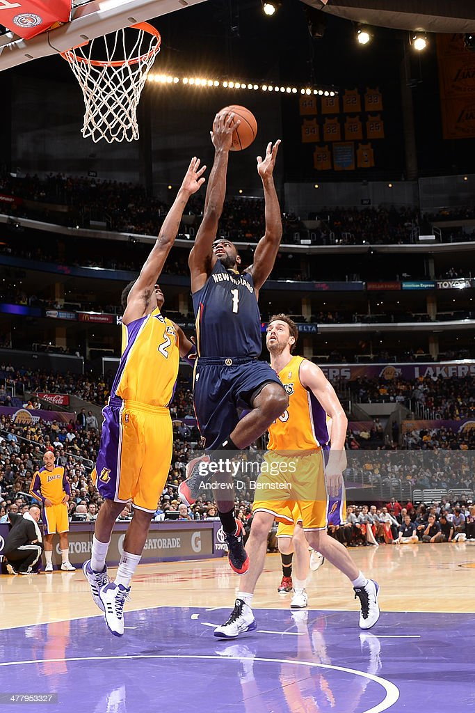 Tyreke Evans #1 of the New Orleans Pelicans goes up for a shot against the Los Angeles Lakers at Staples Center on March 4, 2014 in Los Angeles, California.