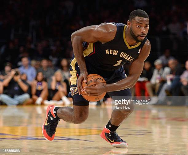Tyreke Evans of the New Orleans Pelicans grabs a loose ball during the game against the Los Angeles Lakers at Staples Center on November 12 2013 in...
