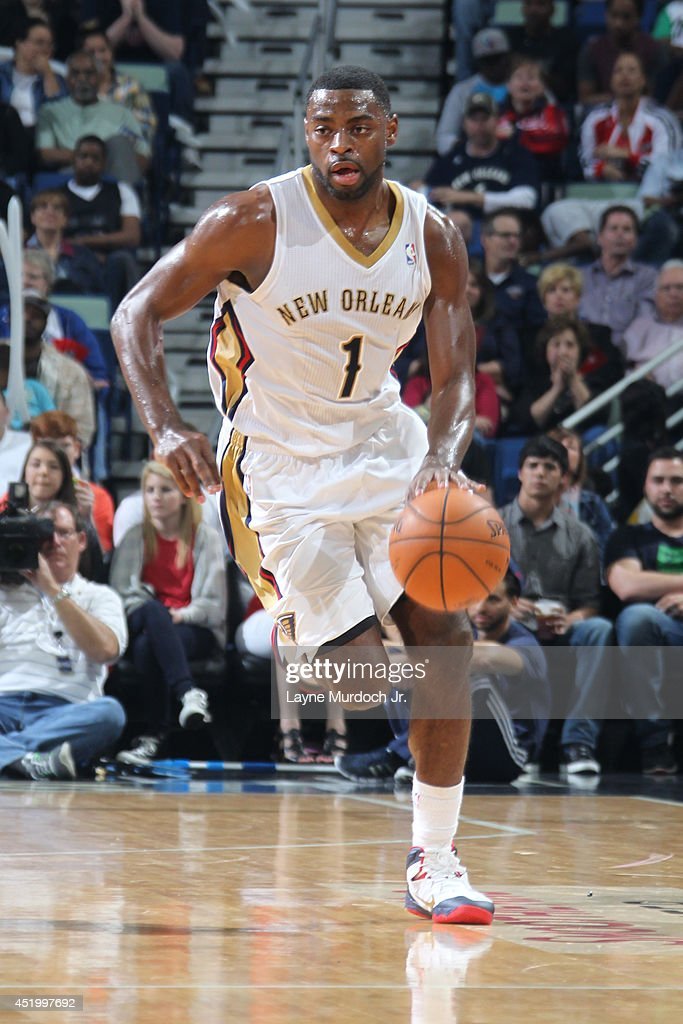 <a gi-track='captionPersonalityLinkClicked' href=/galleries/search?phrase=Tyreke+Evans&family=editorial&specificpeople=4851025 ng-click='$event.stopPropagation()'>Tyreke Evans</a> #1 of the New Orleans Pelicans handles the ball against the Sacramento Kings during an NBA game on March 31, 2014 at the Smoothie King Center in New Orleans, Louisiana..