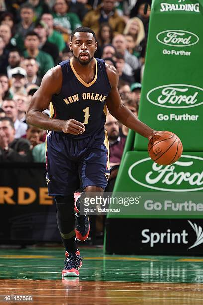 Tyreke Evans of the New Orleans Pelicans handles the ball against the Boston Celtics on January 12 2015 at the TD Garden in Boston Massachusetts NOTE...