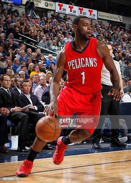Tyreke Evans of the New Orleans Pelicans handles the ball against the Dallas Mavericks on March 2 2015 at the American Airlines Center in Dallas...