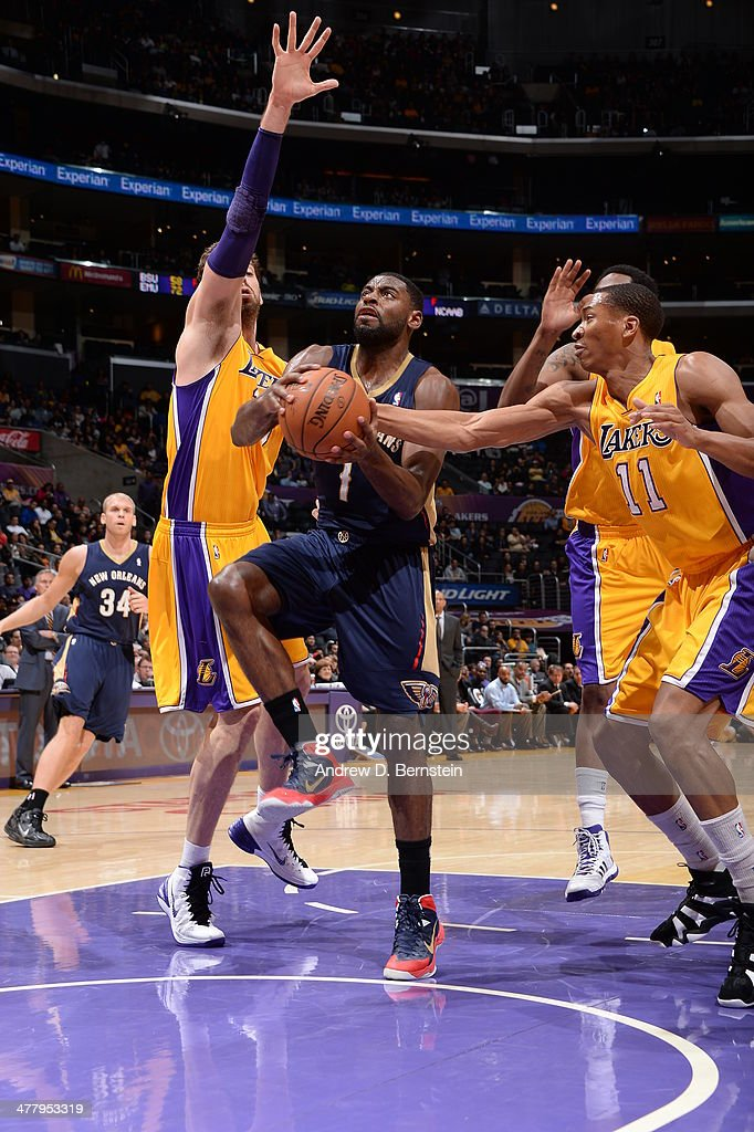 Tyreke Evans #1 of the New Orleans Pelicans handles the ball against the Los Angeles Lakers at Staples Center on March 4, 2014 in Los Angeles, California.