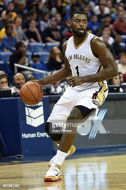 Tyreke Evans of the New Orleans Pelicans handles the ball during a game against the Los Angeles Lakers at the Smoothie King Center on January 21 2015...
