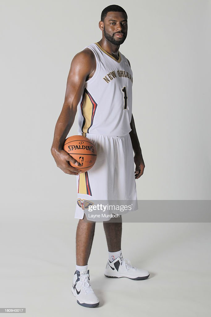 Tyreke Evans #1 of the New Orleans Pelicans participates in a photo shoot introducing the team's new uniform on September 16, 2013 at the New Orleans Pelicans practice facility in Metairie, Louisiana.