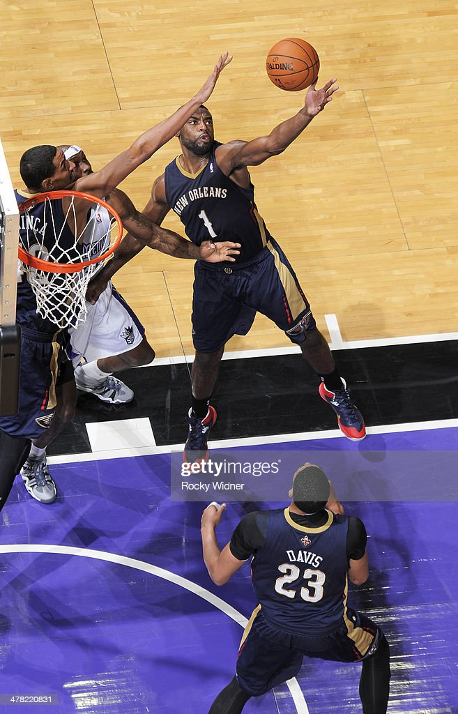 Tyreke Evans #1 of the New Orleans Pelicans rebounds against the Sacramento Kings on March 3, 2014 at Sleep Train Arena in Sacramento, California.