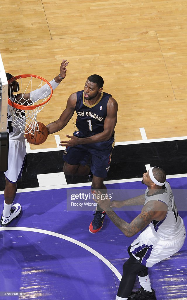 Tyreke Evans #1 of the New Orleans Pelicans shoots a layup against the Sacramento Kings on March 3, 2014 at Sleep Train Arena in Sacramento, California.
