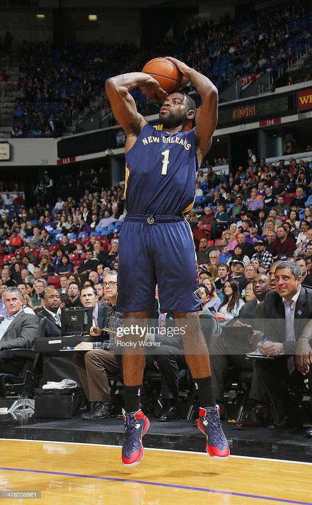 Tyreke Evans #1 of the New Orleans Pelicans shoots a three pointer against the Sacramento Kings on March 3, 2014 at Sleep Train Arena in Sacramento, California.