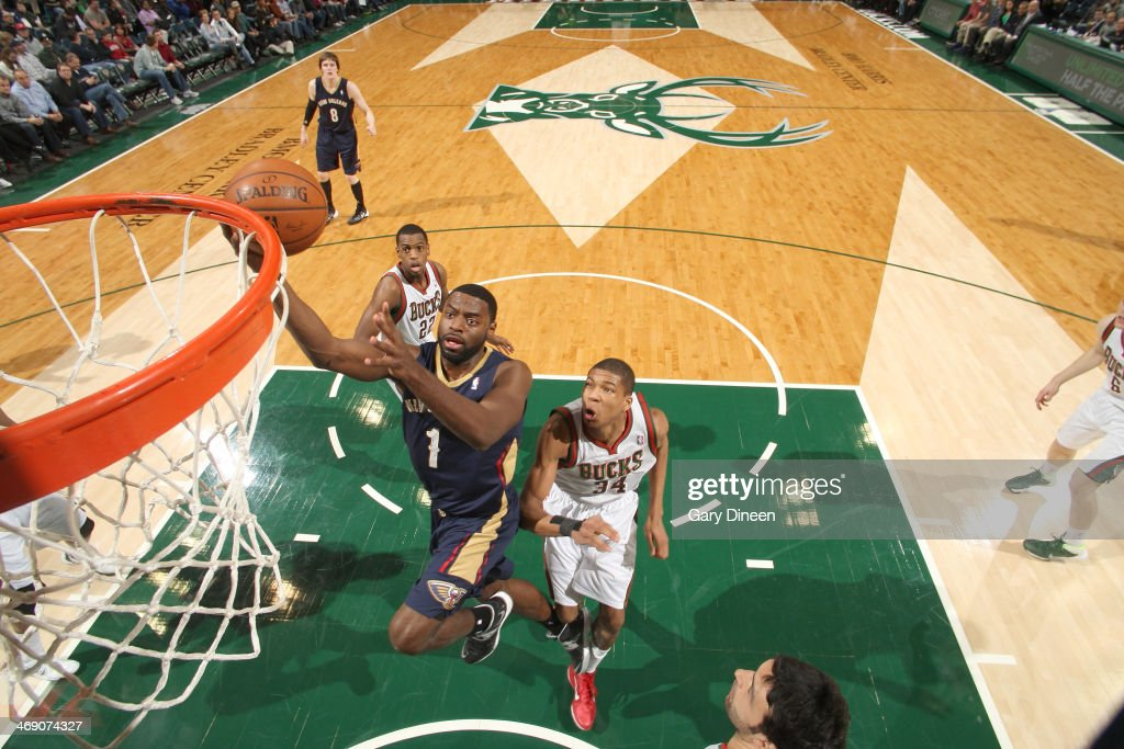 <a gi-track='captionPersonalityLinkClicked' href=/galleries/search?phrase=Tyreke+Evans&family=editorial&specificpeople=4851025 ng-click='$event.stopPropagation()'>Tyreke Evans</a> #1 of the New Orleans Pelicans shoots against Giannis Antetokounmpo #34 of the Milwaukee Bucks on February 12, 2014 at the BMO Harris Bradley Center in Milwaukee, Wisconsin.