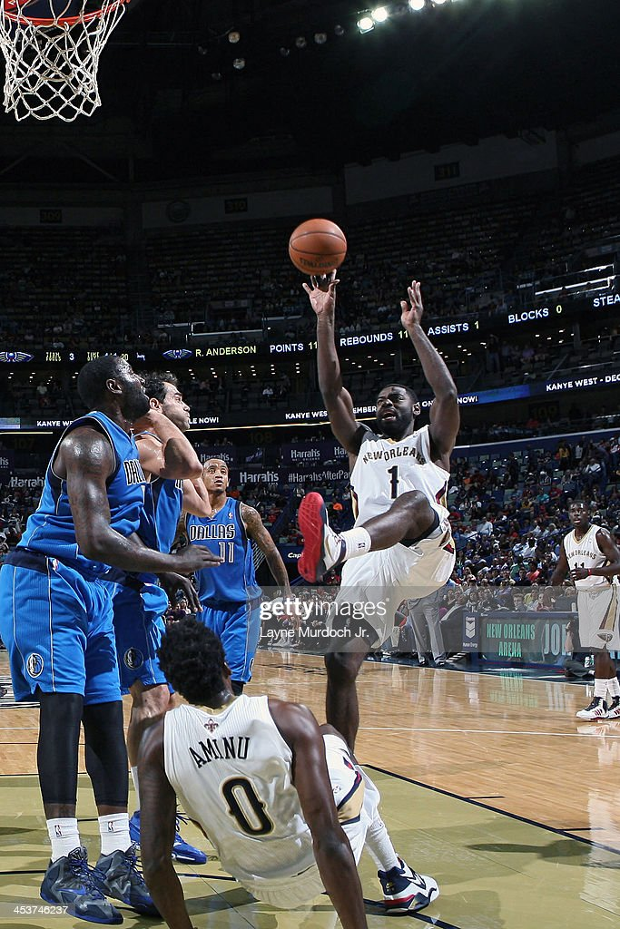 <a gi-track='captionPersonalityLinkClicked' href=/galleries/search?phrase=Tyreke+Evans&family=editorial&specificpeople=4851025 ng-click='$event.stopPropagation()'>Tyreke Evans</a> #1 of the New Orleans Pelicans shoots against the Dallas Mavericks on December 4, 2013 at the New Orleans Arena in New Orleans, Louisiana.