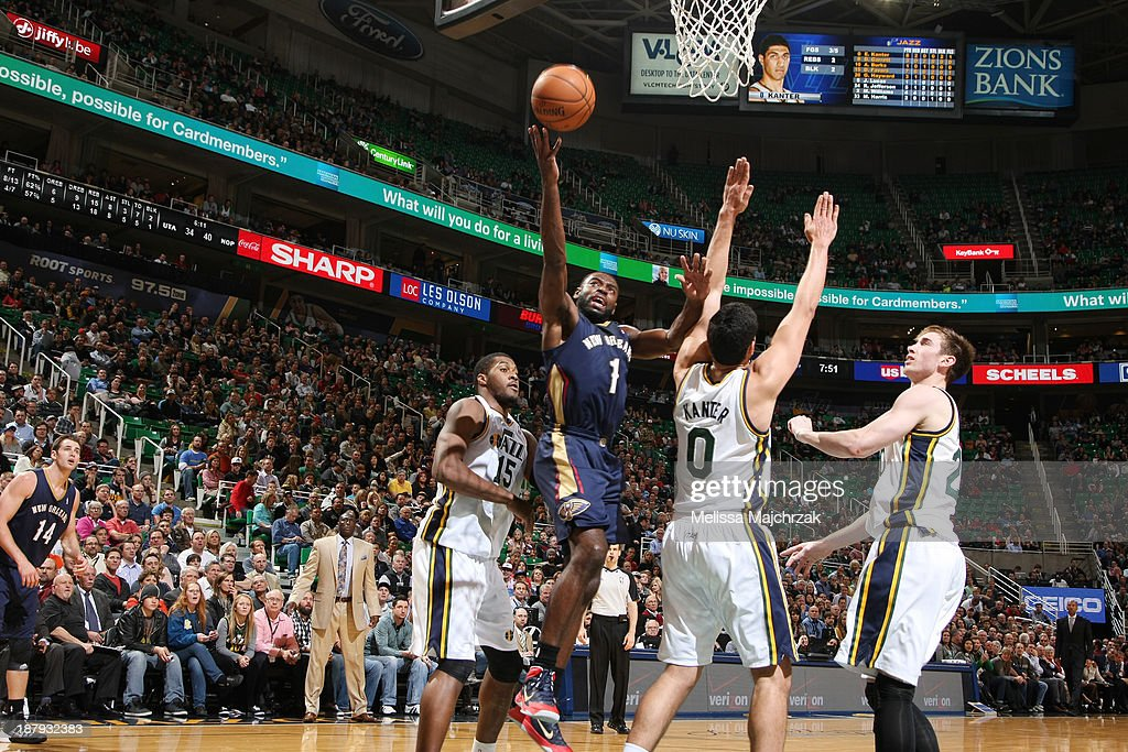 <a gi-track='captionPersonalityLinkClicked' href=/galleries/search?phrase=Tyreke+Evans&family=editorial&specificpeople=4851025 ng-click='$event.stopPropagation()'>Tyreke Evans</a> #1 of the New Orleans Pelicans shoots over <a gi-track='captionPersonalityLinkClicked' href=/galleries/search?phrase=Enes+Kanter&family=editorial&specificpeople=5621416 ng-click='$event.stopPropagation()'>Enes Kanter</a> #0 of the Utah Jazz at EnergySolutions Arena on November 13, 2013 in Salt Lake City, Utah.