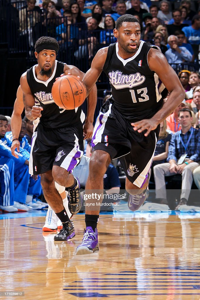 <a gi-track='captionPersonalityLinkClicked' href=/galleries/search?phrase=Tyreke+Evans&family=editorial&specificpeople=4851025 ng-click='$event.stopPropagation()'>Tyreke Evans</a> #13 of the Sacramento Kings advances the ball against the Oklahoma City Thunder on April 15, 2013 at the Chesapeake Energy Arena in Oklahoma City, Oklahoma.