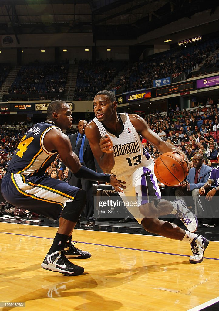 <a gi-track='captionPersonalityLinkClicked' href=/galleries/search?phrase=Tyreke+Evans&family=editorial&specificpeople=4851025 ng-click='$event.stopPropagation()'>Tyreke Evans</a> #13 of the Sacramento Kings dribbles the ball around <a gi-track='captionPersonalityLinkClicked' href=/galleries/search?phrase=Paul+Millsap&family=editorial&specificpeople=880017 ng-click='$event.stopPropagation()'>Paul Millsap</a> #24 of the Utah Jazz on November 24, 2012 at Sleep Train Arena in Sacramento, California.
