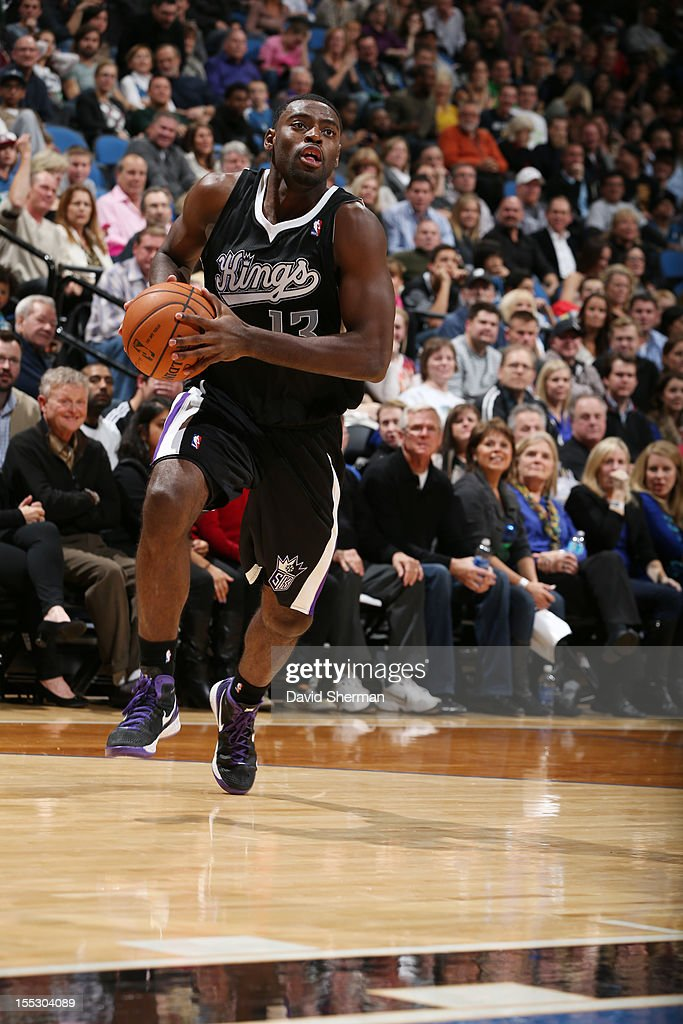 Tyreke Evans #13 of the Sacramento Kings dribbles with the ball against Minnesota Timberwolves during the season opening game on November 2, 2012 at Target Center in Minneapolis, Minnesota.