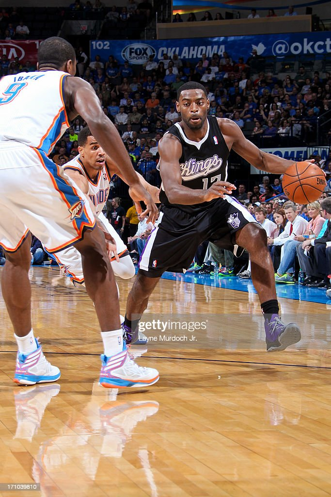 <a gi-track='captionPersonalityLinkClicked' href=/galleries/search?phrase=Tyreke+Evans&family=editorial&specificpeople=4851025 ng-click='$event.stopPropagation()'>Tyreke Evans</a> #13 of the Sacramento Kings drives against <a gi-track='captionPersonalityLinkClicked' href=/galleries/search?phrase=Serge+Ibaka&family=editorial&specificpeople=5133378 ng-click='$event.stopPropagation()'>Serge Ibaka</a> #9 of the Oklahoma City Thunder on April 15, 2013 at the Chesapeake Energy Arena in Oklahoma City, Oklahoma.