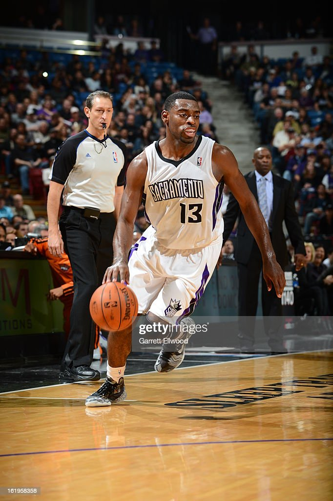 <a gi-track='captionPersonalityLinkClicked' href=/galleries/search?phrase=Tyreke+Evans&family=editorial&specificpeople=4851025 ng-click='$event.stopPropagation()'>Tyreke Evans</a> #13 of the Sacramento Kings drives against the Phoenix Suns on January 23, 2013 at Sleep Train Arena in Sacramento, California.
