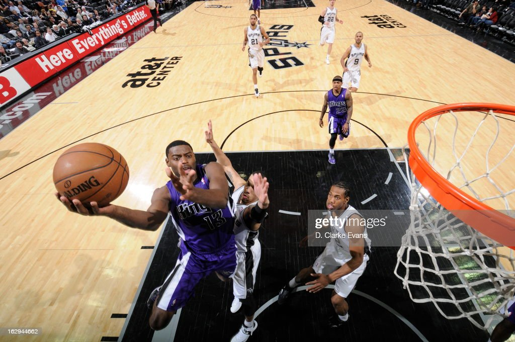 Tyreke Evans #13 of the Sacramento Kings drives to the basket against the San Antonio Spurs on March 1, 2013 at the AT&T Center in San Antonio, Texas.