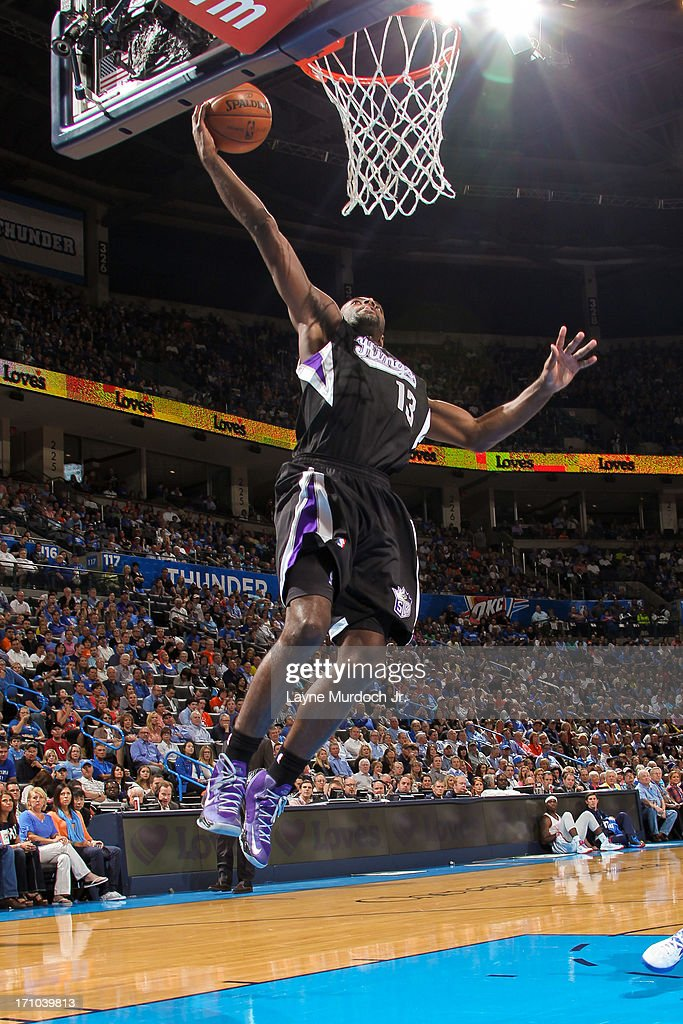 <a gi-track='captionPersonalityLinkClicked' href=/galleries/search?phrase=Tyreke+Evans&family=editorial&specificpeople=4851025 ng-click='$event.stopPropagation()'>Tyreke Evans</a> #13 of the Sacramento Kings drives to the basket on a fast break against the Oklahoma City Thunder on April 15, 2013 at the Chesapeake Energy Arena in Oklahoma City, Oklahoma.
