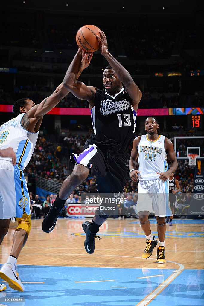 <a gi-track='captionPersonalityLinkClicked' href=/galleries/search?phrase=Tyreke+Evans&family=editorial&specificpeople=4851025 ng-click='$event.stopPropagation()'>Tyreke Evans</a> #13 of the Sacramento Kings goes for a jump shot during the game between the Sacramento Kings and the Denver Nuggets on January 26, 2013 at the Pepsi Center in Denver, Colorado.